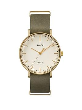 timex-timex-unisex-fairfield-white-dial-olive-leather-strap-watch