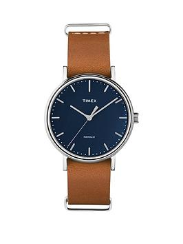 timex-timex-ladies-fairfield-blue-dial-brown-leather-strap-watch
