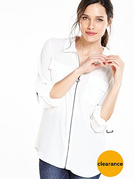 v-by-very-pocket-detail-zip-through-blouse