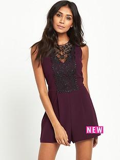 miss-selfridge-petite-lace-playsuit-burgundy