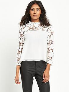 miss-selfridge-lace-slv-top