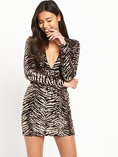 motel-motel-meli-ls-animal-sequin-deep-plunge-mini-dress