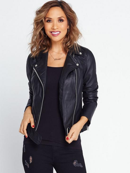 Womens leather jacket with hood uk