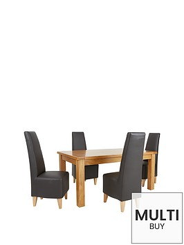 oakland-170-cm-solid-oak-dining-table-4-manhattan-chairs-buy-and-save