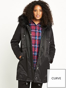 lost-ink-curve-faux-fur-trim-parka-black