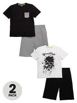 v-by-very-boys-skull-and-stripe-shorty-pyjama-sets-2-pack
