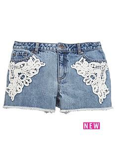 v-by-very-girls-crochet-trim-denim-shorts