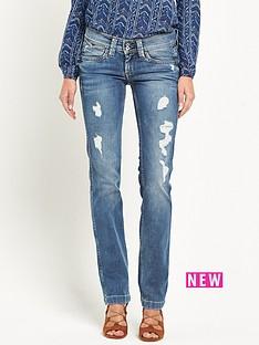 pepe-jeans-pepe-banji-destroyed-denim-slim-bootcut-jean