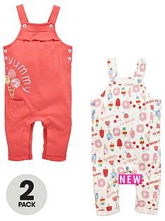 ladybird-baby-girls-2-pk-ice-cream-dungarees