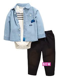 ladybird-baby-boys-3pc-denim-shirt-bodysuit-jean-set