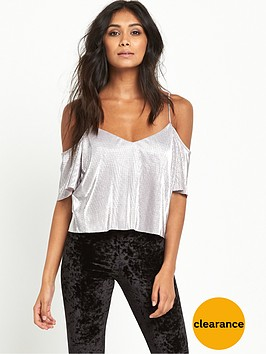 miss-selfridge-miss-selfridge-petite-metallic-plisse-cami