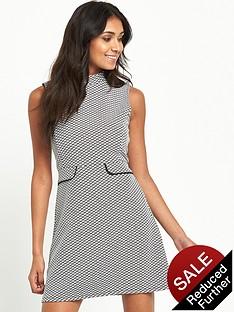 miss-selfridge-petite-monochrome-jacquard-high-neck-shift-dress