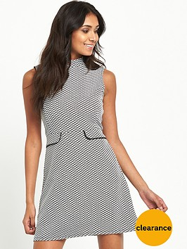 miss-selfridge-petite-monochrome-jacquard-high-neck-shift-dress
