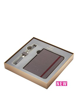 parker-parker-urban-premium-pearl-chrome-trim-ballpoint-pen-amp-notebook