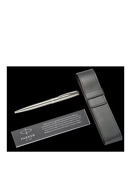 parker-sonnet-stainless-steel-chrome-trim-ballpoint-pen-amp-pouch