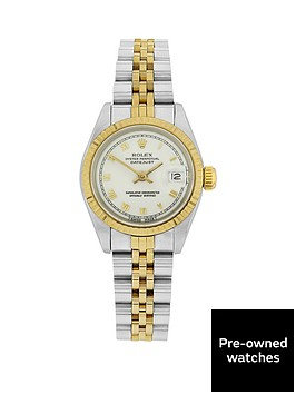 rolex-bimetal-datejust-white-roman-numeral-26mm-dial-ladies-watch-pre-owned-including-paperwork