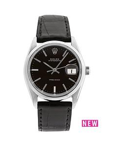 rolex-steel-oysterdate-black-34mm-dial-aftermarket-black-strap-mens-watch-pre-owned