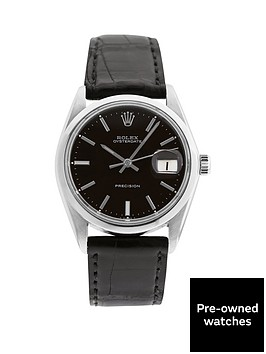 rolex-steel-oysterdate-black-34mm-dial-aftermarket-black-strap-mens-watch-pre-owned
