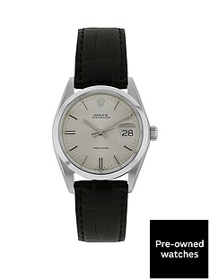 rolex-steel-oysterdate-silver-34mm-dial-aftermarket-black-strap-mens-watch-pre-owned
