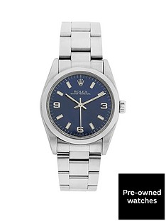 rolex-steel-oyster-perpetual-blue-31mm-dial-midsize-watch-pre-owned-1987-1998