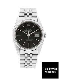 rolex-stainless-steel-datejust-black-36mm-dial-mens-watch-pre-owned-1987-1994