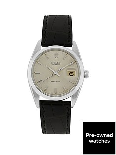 rolex-steel-oysterdate-silver-36mm-dial-aftermarket-black-strap-watch-pre-owned