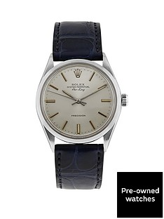 rolex-rolex-preowned-steel-air-king-silver-36mm-dial-aftermarket-blue-strap-mens-watch