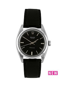 rolex-steel-oyster-perpetual-black-34mm-dial-aftermarket-black-strap-mens-watch-pre-owned