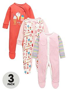 ladybird-baby-girls-ice-cream-sleepsuits-3-pack