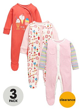 ladybird-baby-girls-ice-cream-sleepsuits-3-pack