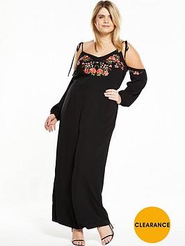 ri-plus-cold-shoulder-embroidered-dress