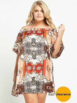 ri-plus-scarf-print-bardot-dress