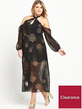 ri-plus-cold-shoulder-printed-dress