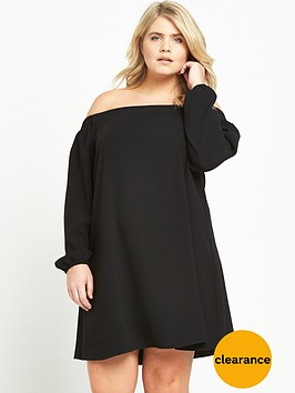 ri-plus-long-sleeve-bardot-dress-black