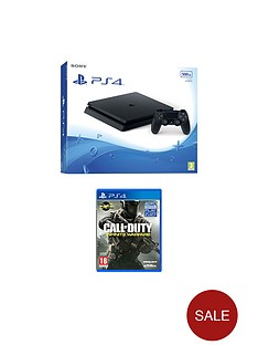playstation-4-slim-500gb-black-console-with-call-of-duty-infinite-warfare-and-optional-extra-dualshock-controller-andor-12-months-playstation-plus