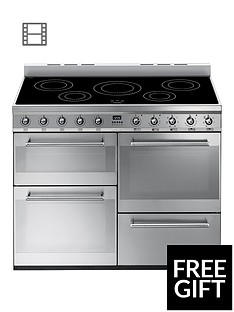 Smeg SYD4110I 110cm Symphony Dual Fuel Range Cooker with Induction Hob - Stainless Steel