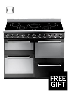 Smeg SYD4110iBL110cmSymphony Dual Fuel Range Cooker with Induction Hob -Black