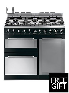 Smeg SY93BL 90cm Dual Fuel 3 Cavity Range Cooker with Gas Hob - Black