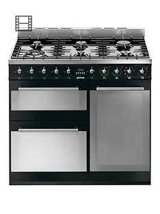 smeg-sy93bl-90cm-dual-fuel-3-cavity-range-cooker-with-gas-hob-black