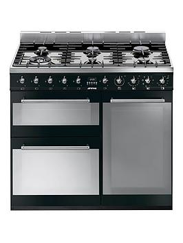 smeg-sy93bl-90cm-dual-fuel-3-cavity-range-cooker-with-gas-hob-black