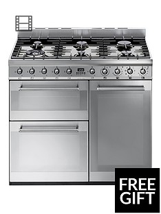 Smeg SY93 90cm Dual Fuel 3 Cavity Range Cooker with Gas Hob - Stainless Steel