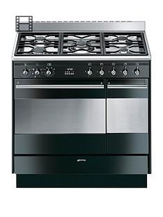 smeg-suk92mbl9-90cm-double-oven-dual-fuel-concert-range-cooker-black
