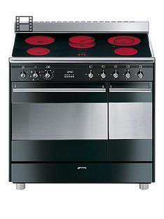Smeg SUK92CBL9 90cmCeramic Double Oven ElectricConcert Range Cooker - Black