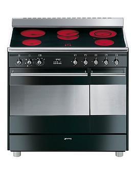 smeg-suk92cbl9-90cmnbspceramic-double-oven-electricnbspconcert-range-cooker