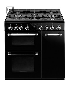 Smeg BU93BL 90cm Dual Fuel 3 Cavity Cooker with Gas Hob - Black