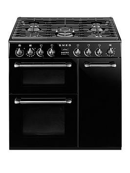 smeg-bu93bl-90cm-dual-fuel-3-cavity-cooker-with-gas-hob-black