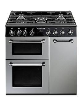 smeg-bu93s-90cm-dual-fuel-3-cavity-cooker-with-gas-hob-silver