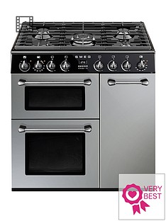 smeg-bu93s-90cm-dual-fuel-3-cavity-cooker-with-gas-hob