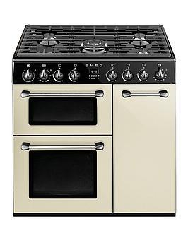smeg-bu93p-90cm-dual-fuel-cooker-cream