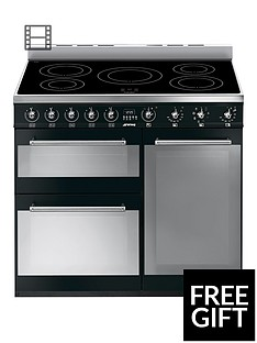 Smeg SY93IBL 90cm 3-Cavity Range Cooker with Induction Hob - Black